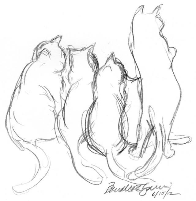 A Tangle of Cats at the Door, 5 x 8, pencil © Bernadette E. Kazmarski
