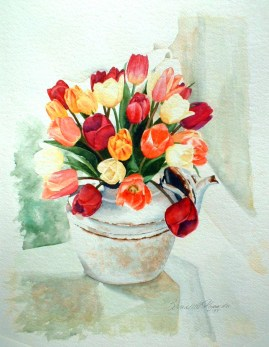 Tea for Tulips, watercolor, 12 x 16 © Bernadette E. Kazmarski
