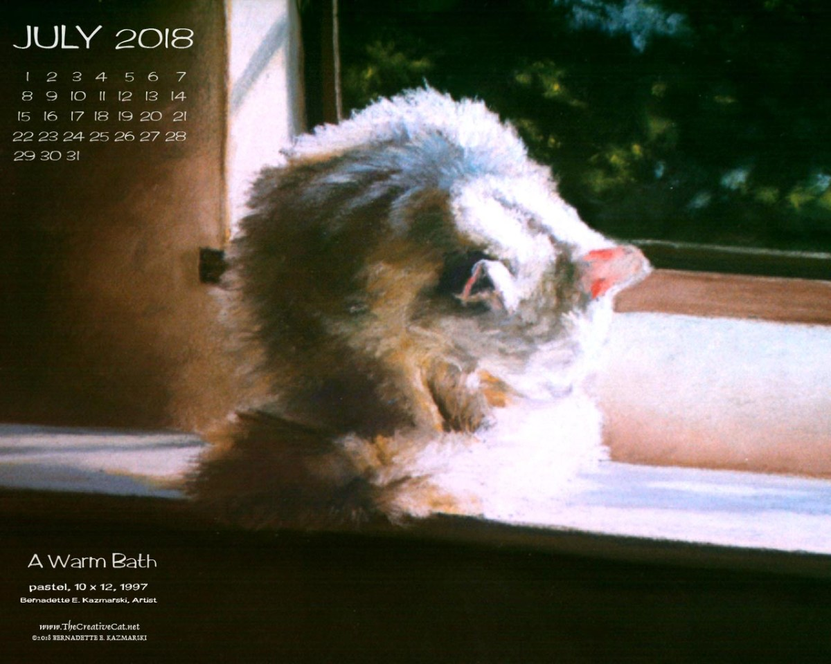 July Featured Artwork and Desktop Calendar: A Warm Bath