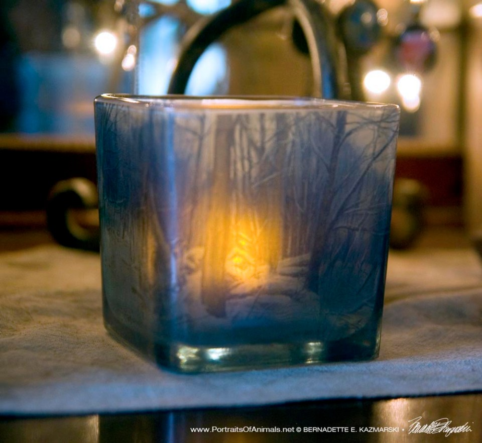Dusk in the Woods votive, angled.