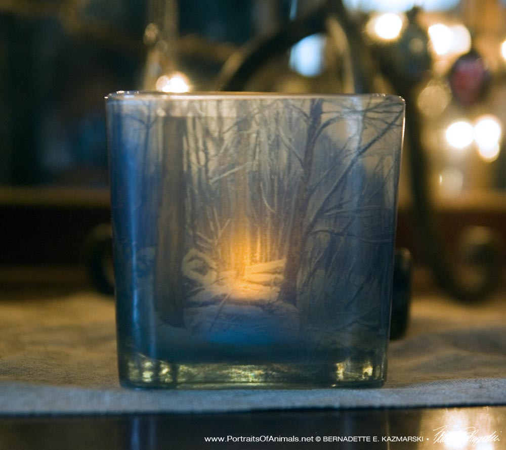 Dusk in the Woods votive, front.