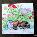 Stanley With Geraniums Tile