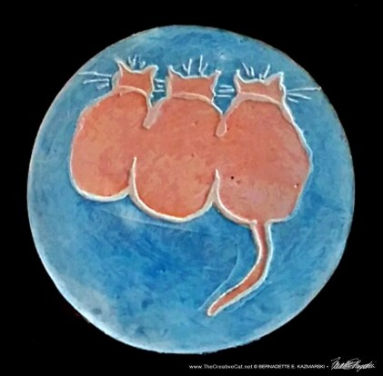 Three Cats Coasters Orange and Blue with Wash
