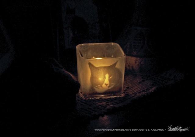 votive lit at night