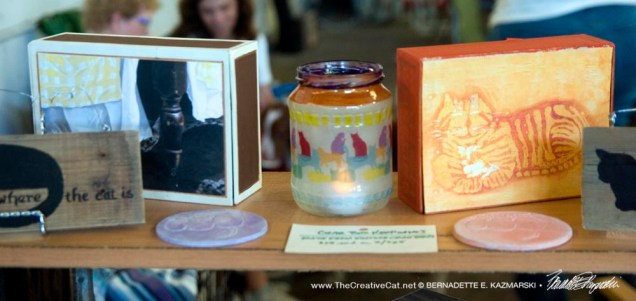 My display with keepsakes, coasters and votives.