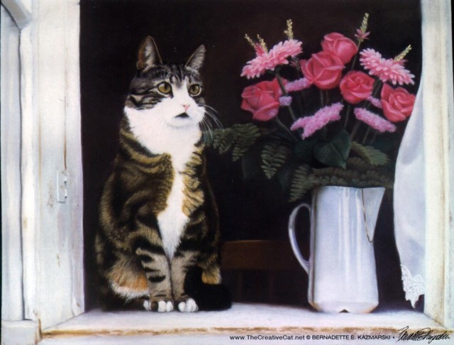 "Paws for Reflection, Pastel, 18"" x 14"", 1999 © Bernadette E. Kazmarski"