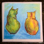 Two Cats After van Gogh tile