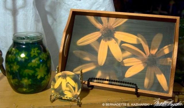 Three Sunflowers assortment: tray, votive, coaster.
