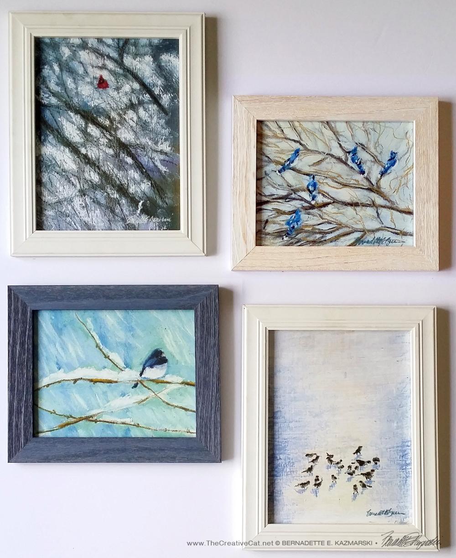 Winter Birds, framed set