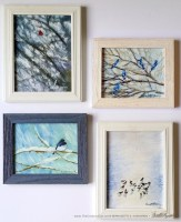 Winter Birds, framed set