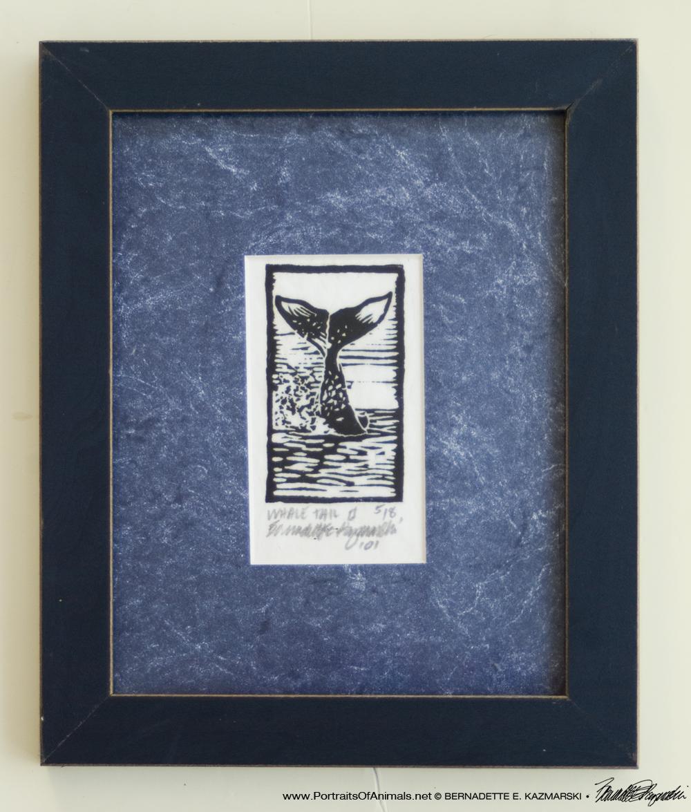 framed linoleum block print