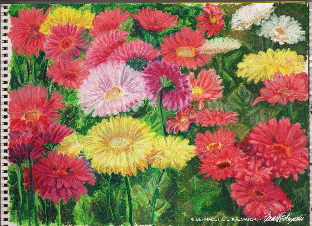 oil pastel painting of gerbera daisies