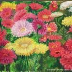 oil pastel painting of gerbera daisies
