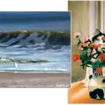 pastel seascape pastel cat with flowers