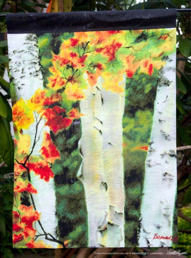 Garden Flag, Birches 1 Autumn Showers