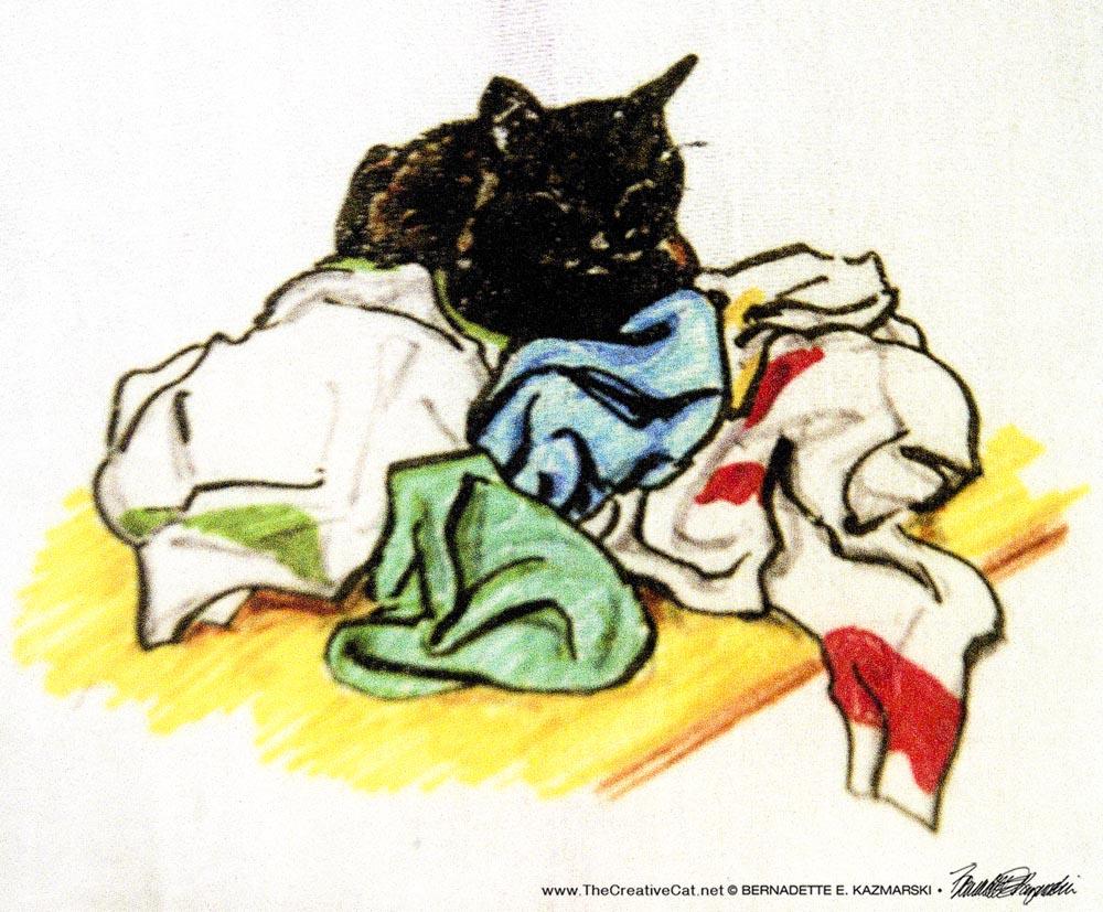 handprinted dishtowel with black cat