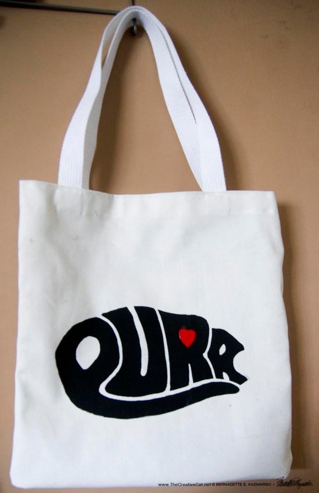 hand-printed tote bag