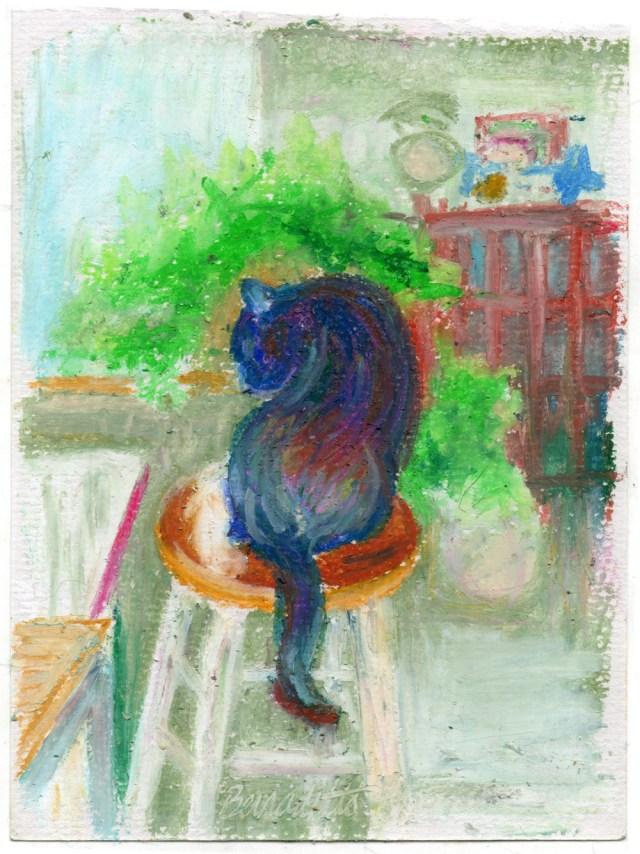 oil pastel of cat