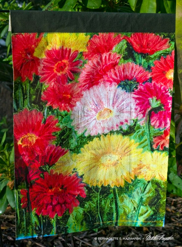 Greenhouse Gerberas garden flag