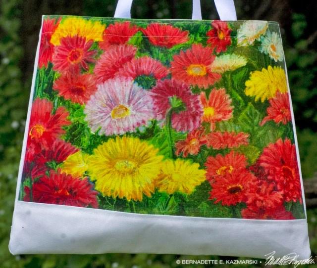 Greenhouse Gerberas tote bag detail