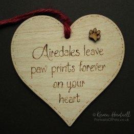 Airedale heart plaque