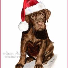 Chocolate Labrador Puppy Christmas Cards