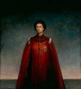 Queen Elizabeth II by Pietro Annigoni, oil on panel, 1969 The trustees of the National Portrait Gallery commissioned the Italian artist Pietro Annigoni to paint a new portrait of the Queen in 1969. The Queen herself had expressed a preference for the artist who had painted her once before in 1954; two years after her coronation. Annigoni's second portrait, paid for by the art dealer Sir Hugh Leggatt, took 10 months and 18 sittings to complete. During this period the artist produced the sketch displayed here. This stark and monumental composition proved to be a startling contrast to Annigoni's earlier portrait of the young queen, which was glamorous and romantic. He explained his changed approach: 'I did not want to paint her as a film star; I saw her as a monarch, alone in the problems of her responsibility'. The unveiling of the portrait in 1970 generated enormous press and public interest.