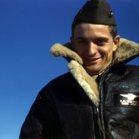 WWII Marine SBD Dive Bomber Pilot Color Photo Identified - Lt. Francis. A Watrous