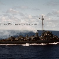 WWII Kodachrome Color Slide - USS Canfield DE-262 Escort Destroyer at Eniwetok 1944 in Vibrant Color