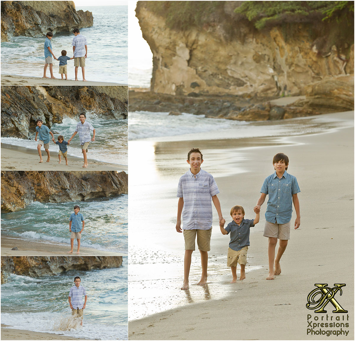 boys portraits at Laguna Beach California