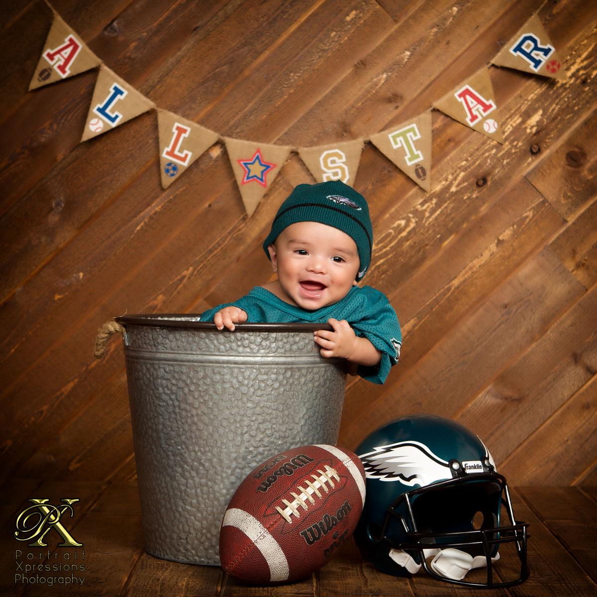 Philadelphia Eagles themed baby session