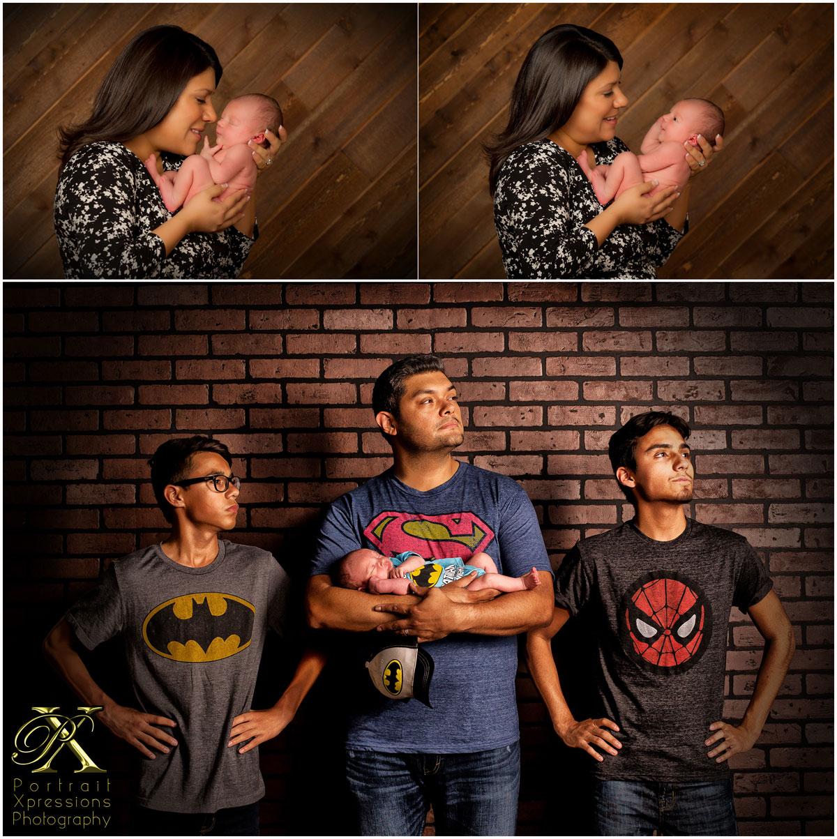 Dad with three boys wearing superhero shirts