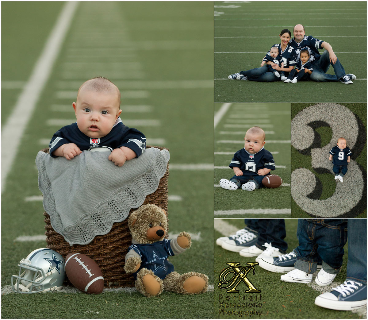 3 month baby session Cowboys theme