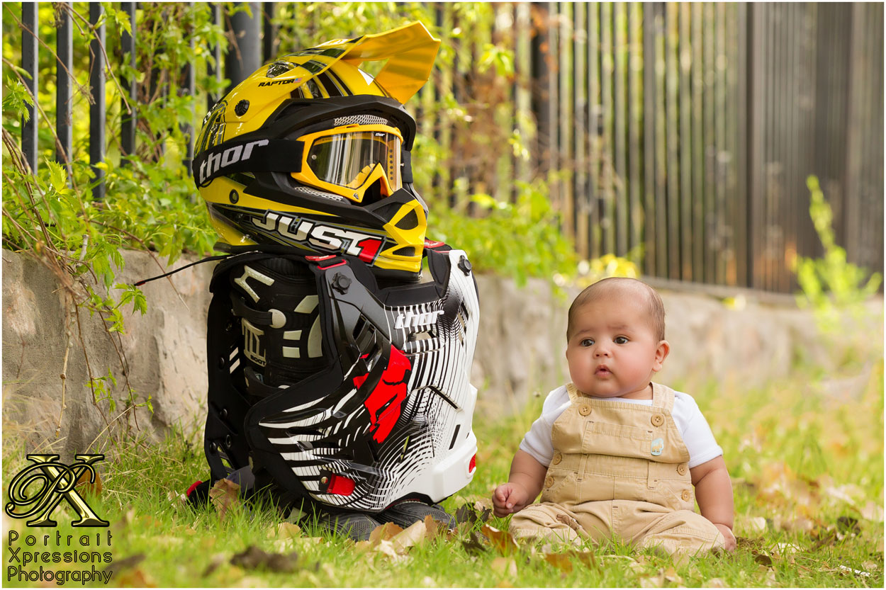 baby with motorcross gear