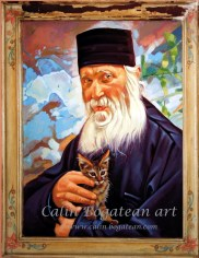 Părintele Ioan de la Sihăstria Tehnica: ulei, pictură pe pânză Dimensiune: 90 x 60 x 2 cm.