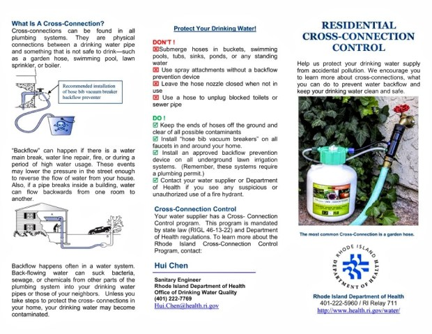 Backflow prevention brochure from RIDOH Page 1