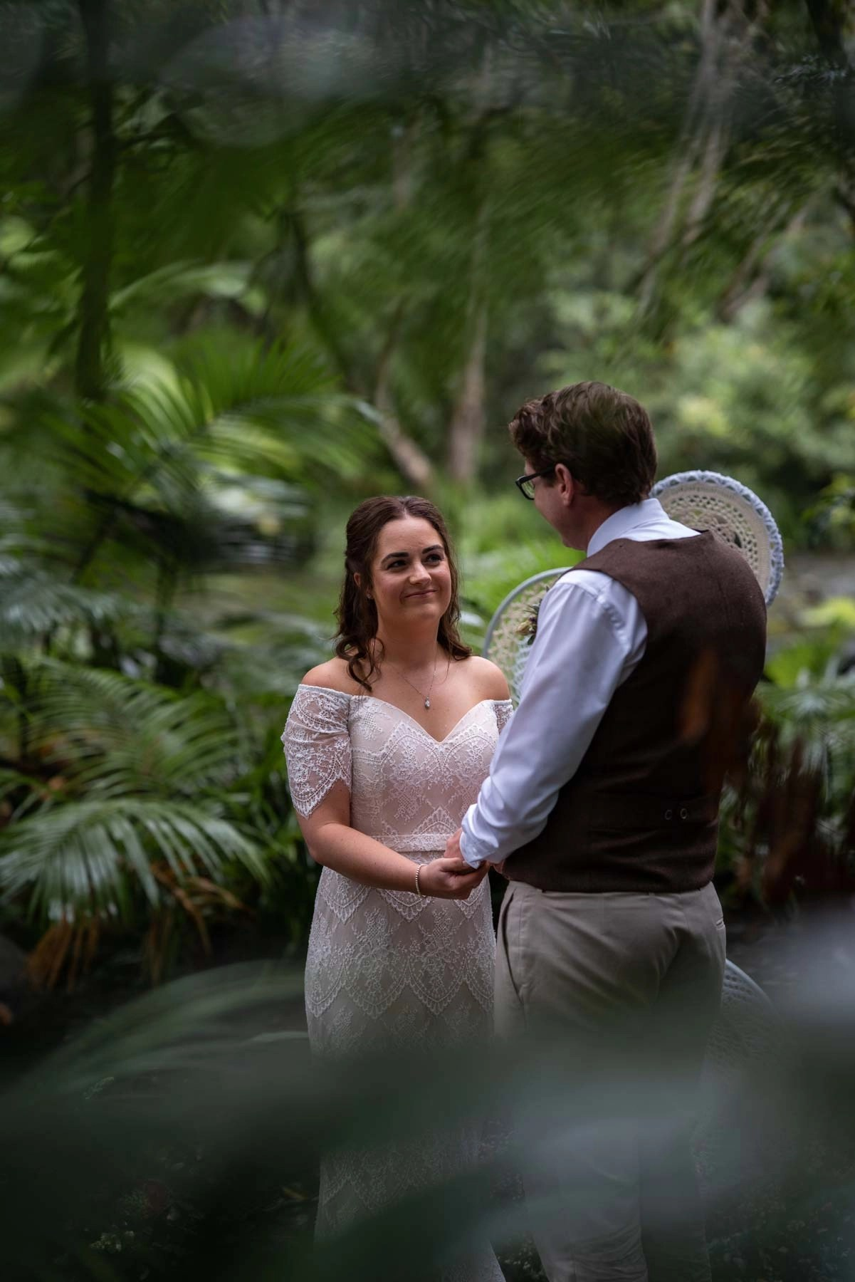 Bridal portrait at alter in rainforest elopement