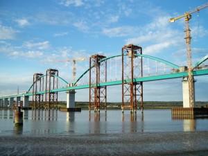 Ponte de Alcácer, na variante com o mesmo nome, em construção. Foto: Pengest