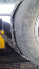 Blown up tire