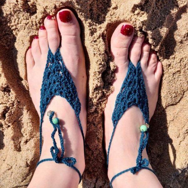 Crochet beach sandals in dark turquoise colour, handmade barefoot beach sandals