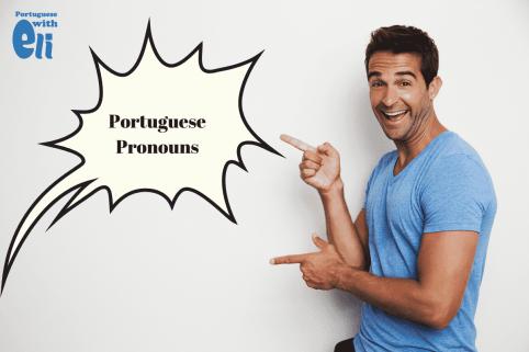 man pointing at portuguese pronouns burst
