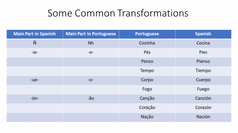 table comparison spanish and portuguese similarity