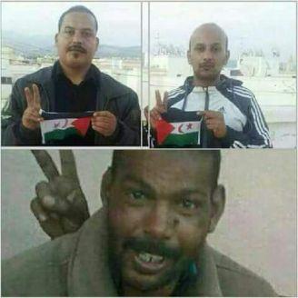 Activistas Ali Saadouni, Nouradin Elargoibi y Khaliehna Elfak