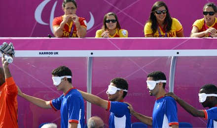 Blindfolding eight-year-olds to play blind football