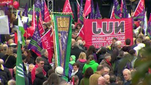 Northern Ireland trade unions march against government cuts