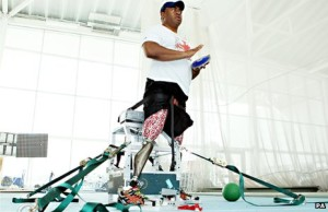 "Former soldier and Paralympian Derek Derenalagi with his ""bionic leg"""
