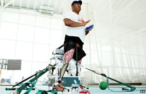 """Former soldier and Paralympian Derek Derenalagi with his """"bionic leg"""""""