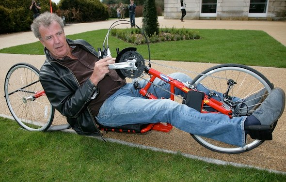 Clarkson rides a bicycle for Help for Heroes