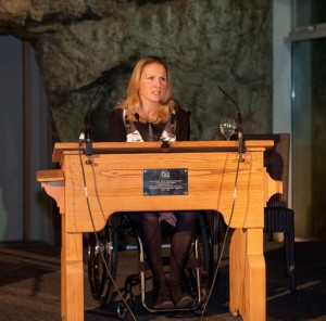Guest speaker Claire Lomas addressing guests at the Lake District Calvert Trust Charity Ball.