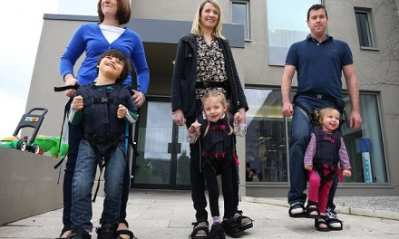 Mother Invents harness to help son walk for the first time